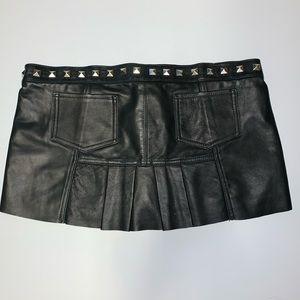 KRMA punk leather mini skirt medium black studded